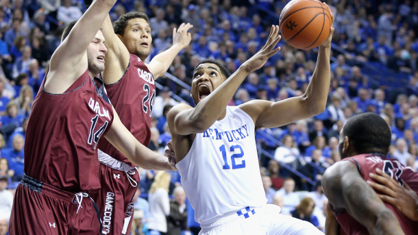 LEXINGTON, KY - FEBRUARY 14:  Karl-Anthony Towns #12 of the Kentucky Wildcats shoots the ball during the game against the South Carolina Gamecocks at Rupp Arena on February 14, 2015 in Lexington, Kentucky.  (Photo by Andy Lyons/Getty Images)